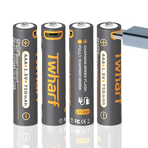 Twharf Rechargeable Lithium AAA Batteries, 1.5V 750 mAh High Capacity Triple AAA Batteries, 1 Hour Fast Charging, Over 1000 Cycles, with 4-in-1 Micro USB Charging Cable, LED Charge Indicator, 4-Counts