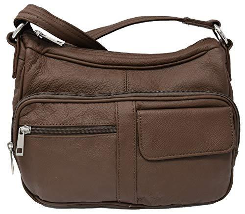 Garrison Grip BRN Crossbody or Shoulder Carry Leather Locking Purse CCW Gun Bag