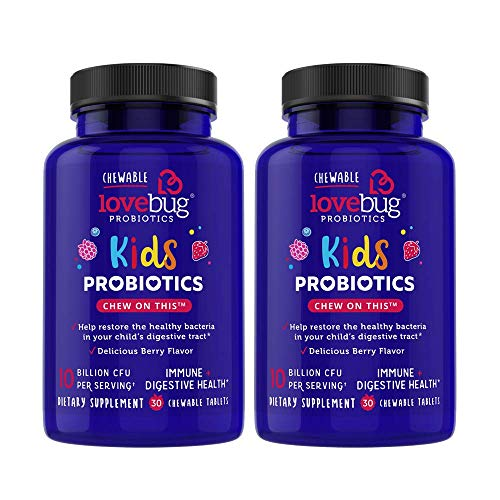 LoveBug Probiotics Kids Probiotic Chewable - Digestive + Immune Support Probiotic Supplement for Kids Ages 4 and Up - 30 Naturally Flavored Berry Chewable Tablets - Vegan, Non-GMO with Prebiotic (60)