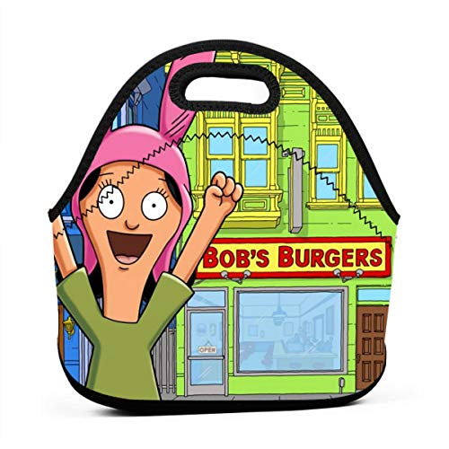 Mom Dad Funny Thermal Reusable Washable Fruit Tote, Portable Picnic Snack Bag, Bob's Burgers Louise Belcher Lunchbox for Preschool Office Outdoors