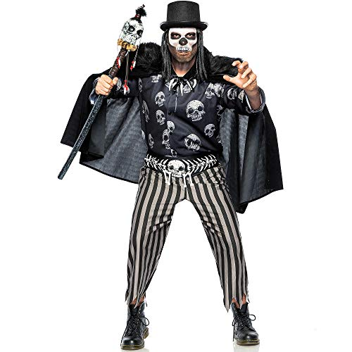 Seeing Red Inc Voodoo Legba Costume for Adults, Plus Size, Includes Outfit, Cape, Hat with Hair, and Accessories