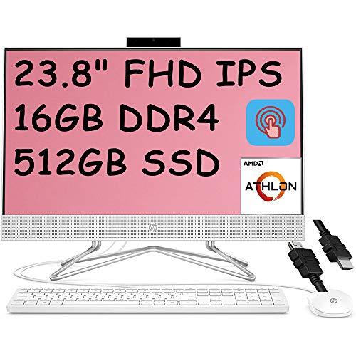 2021 Flagship HP 24 All in One Desktop Computer 23.8'FHD IPS Touchscreen Display AMD Athlon Silver 3050U (Beats i5-7200U) 16GB DDR4 512GB SSD DVD Webcam WiFi Keyboard Mouse Win 10 + iCarp HDMI Cable