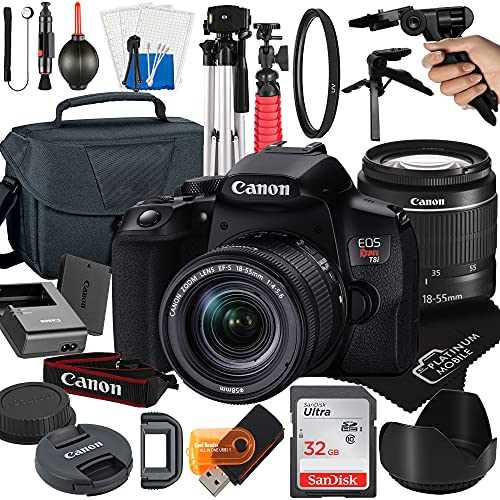 Canon EOS Rebel T8i DSLR Camera with 18-55mm Zoom Lens + Platinum Mobile Accessory Bundle Package Includes: SanDisk 32GB Card, Tripod, Case, Pistol Grip and More (21pc Bundle)
