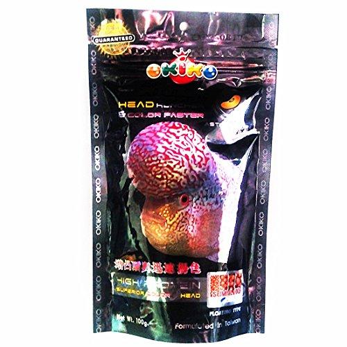 OKIKO 3.5 oz (100g) Platinum Head Huncher & Color Faster Floating Pellets with Astaxanthin Plus Flowerhorn Cichlid Fish Food