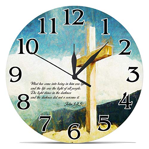 GeTJonesRiGhT Religious Wall Clock - John 1-4, 5 - Religious Gifts for Friends and Family - Inspiring Gifts ,Christian Wall Clock,Cross Wall Clock Jesus Christian -10in