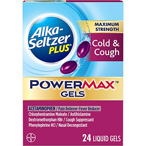 Alka-Seltzer Maximum Strength PowerMax Gels with Acetaminophen, Cold & Cough Medicine for Adults, 24 Count