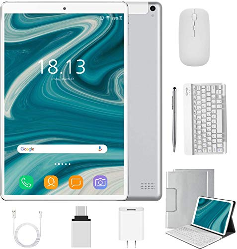 2 in 1 Tablet 10 inch Android 10.0 with Keyboard Mouse, 4GB RAM+64GB ROM/128GB Upgrade Tablets, Dual SIM 4G, Quad Core, 8MP Dual Camera, 8000mAh, WiFi, GPS, Bluetooth, Google Certified Tablet(Silver)