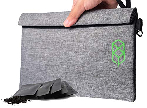 Smell Proof Bag - 11' x 6' Smellproof Odorless Stash Storage Pouch & Case - Eliminate Odor, Stink, and Smelly Scent in a Carbon Lined Airtight Storage Sack