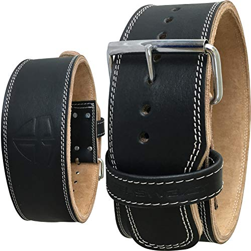 Steel Sweat Weight Lifting Belt - 4 Inches Wide by 10mm - Single Prong Powerlifting Belt That's Heavy Duty - Genuine Cowhide Leather - Medium Texus