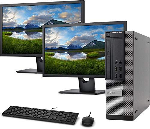 Dell OptiPlex 9020 SFF Computer Desktop PC, Intel i5 Processor, 16GB Ram, 128GB M.2 SSD + 2 TB HDD, Dual 19' FHD Monitor, Wired Keyboard and Mouse, WiFi & Bluetooth, Windows 10 Pro (Renewed)