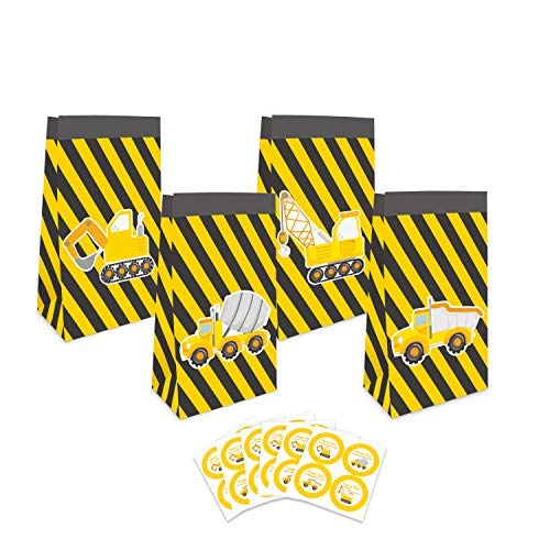 24 Pack Construction Theme Goodie Favor Bags with Thank You Stickers,Truck Themed Candy Treat Bags Gift Bags for Kids Boys, Theme Party Supplies Decorations