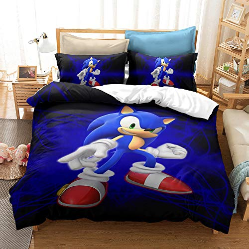 MULMF Sonic The Hedgehog Bedding Duvet Cover 2 Piece Twin Size Game Movie Comforter Cover Sets