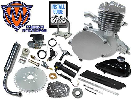 Mega Motors 66/80cc Silver Motorized Bicycle Kit – 2 Stroke Gas Powered Bike Motor Engine