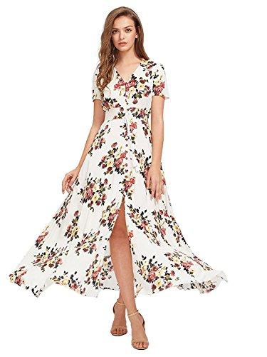 Milumia Women Floral Print Button Up Split Flowy Party Maxi Dress (S, Multicolor-White-3)