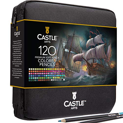Castle Art Supplies 120 Colored Pencils Zip-Up Set perfect for Adults Artists | Smooth color cores and coloring pencils for blending & layering in a strong travel case