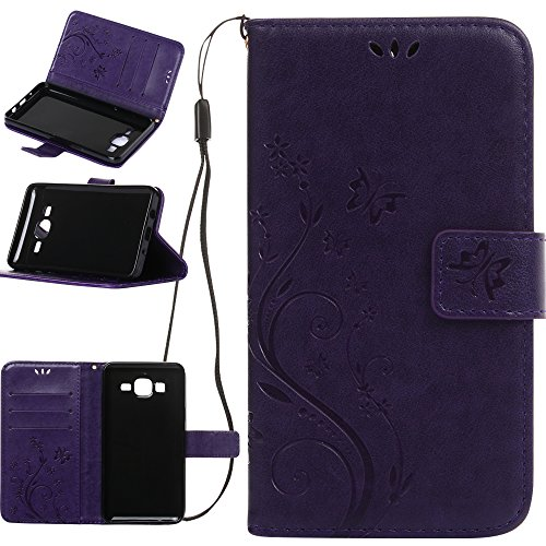 Harryshell Galaxy On5 Case, (TM) Butterfly Flower PU Leather Wallet Protective Flip Pouch Case Cover with Card Slots & Stand for Samsung Galaxy On5 (A-03)