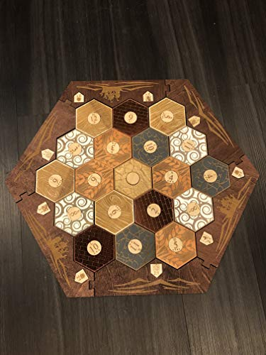 Stained Wood Game Board With Custom Laser Etched Terrain, Border and Number Tokens Compatible with Settlers of Catan Wooden Board Game