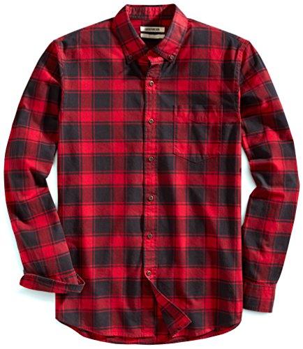 Amazon Brand - Goodthreads Men's Slim-Fit Long-Sleeve Plaid Oxford Shirt, Red Chili, XLarge