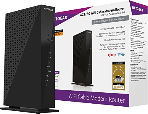 NETGEAR C6300-100NAS AC1750 (16x4) DOCSIS 3.0 WiFi Cable Modem Router Combo (C6300) Certified for Xfinity from Comcast, Spectrum, Cox, Cablevision & more,Black