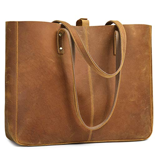 S-ZONE Genuine Leather Shoulder Tote Bag for Women Large Work Handbag Purse