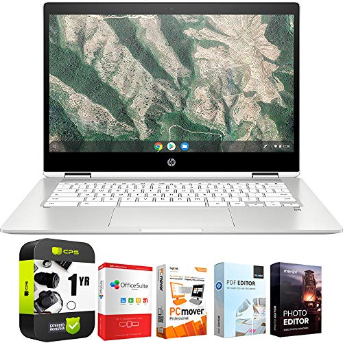 HP Chromebook X360 12' HD+ Intel Celeron N4000 4GB Touch Laptop 12b-ca0010nr Bundle w/ Elite Suite 18 Software (Office Suite Pro, Photo Editor, PDF Editor, PCmover Pro) + 1 Year Protection Plan