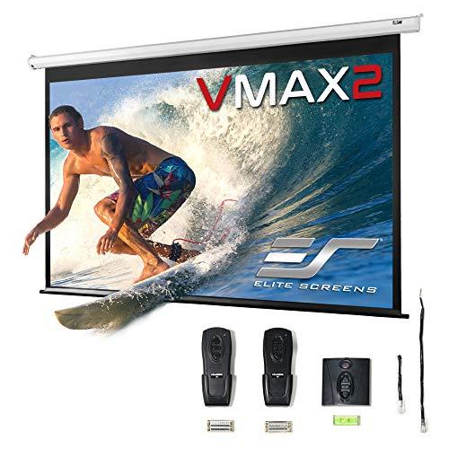 Elite Screens VMAX2 Premium Electric Motorized Projector Screen Home Theater 8K 4K Ultra HD Ready Projection w/ Multi Aspect Ratio Feature Max Size 100' Diag 16:9 to 95' Diag 2.35:1, VMAX100XWH2, White