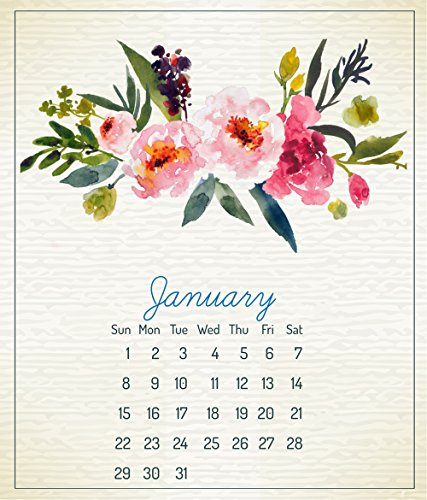 2020 CD Calendar 12 Month Calendar Jan. - Dec. 2020, Beautiful Floral Art Design Printed on Top Quality Paper , in CD Jewel Case Holder