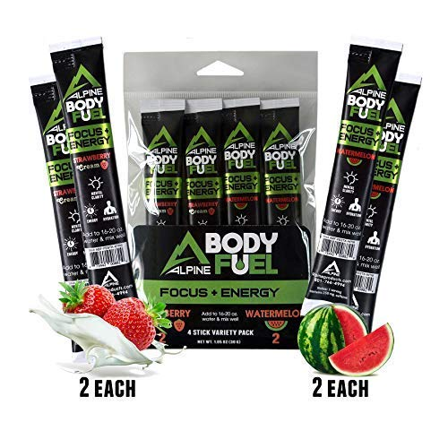 Alpine Innovations Body Fuel Focus + Energy - Great Tasting Supplement Made to Enhance Focus and Provide Energy Without The jitters. (4 Stick Starter Pack, 2 Strawberry Cream & 2 Watermelon)