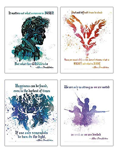 TRENDYPRINT Harry Potter – Dumbledore Quotes Wall Art – Set of 4 – Great for Collecting or Gifting
