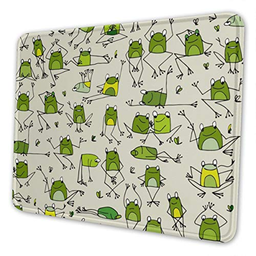Gaming Mouse Pad - Cute Frog Rectangle Rubber Mousepad - 7.9 X 9.5 in X 0.12''(3mm Thick) Mouse Mat for Gift Support Wired Wireless Or Bluetooth Mouse
