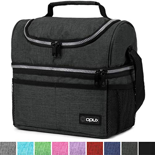 Insulated Dual Compartment Lunch Bag for Men, Women   Double Deck Reusable Lunch Box Cooler with Shoulder Strap, Leakproof Liner   Medium Lunch Pail for School, Work, Office (Charcoal)