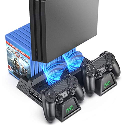 PS4 Stand Cooling Fan Station for Playstation 4/PS4 Slim/PS4 Pro, OIVO PS4 Pro Vertical Stand with Dual Controller EXT Prot Charger Dock Station and 12 Game Slots
