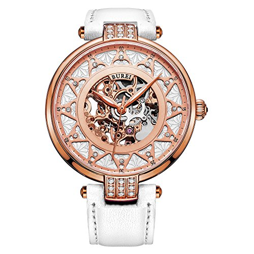 BUREI Women's Rose Gold Dial Skeleton Automatic Watch with White Calfskin Leather