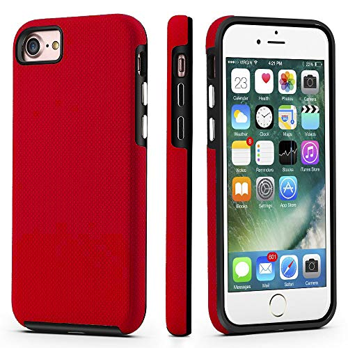 CellEver Dual Guard Protective Cover Compatible with iPhone SE 2020 Case/iPhone 7 Case/iPhone 8 Case, Shock-Absorbing Scratch-Resistant Rugged Drop Protection Cover (Red)