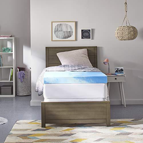 Comfort Revolution 4' Gel-Infused Memory Foam Mattress Topper, Twin XL, Blue