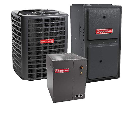 Goodman 3.5 Ton 15 SEER Air Conditioner Model GSX160421, Cased Vertical Coil CAPF4961C6, 100,000 BTU 96% Efficiency Downflow, Horizontal Gas Furnace Model GCES961005CN and Matching TXV