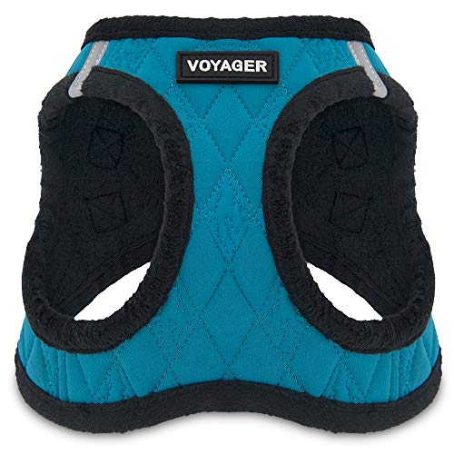 Voyager Step-in Plush Dog Harness - Soft Plush, Step in Vest Harness for Small and Medium Dogs by Best Pet Supplies - Turquoise Plush, Small (Chest: 14.5' - 17')