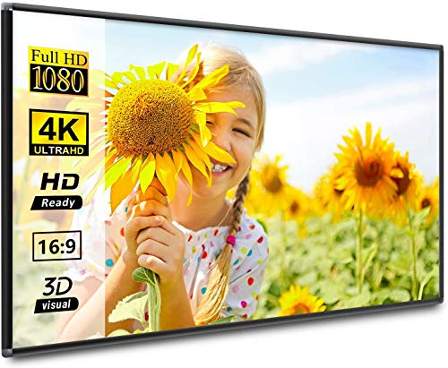 Projector Screen 120 inch with Frame 16:9 HD 4K Movies Screen Portable Widescreen Foldable Anti-Crease Indoor Outdoor Projection Movies Screen for Home Theater Match Party