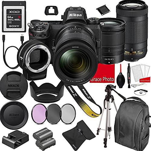 Nikon Z6 Mirrorless Digital Camera 24.5MP + Nikkor Z 24-70mm f/4 S & AF-P 70-300mm F/4.5-6.3 ED VR Lenses + 64GB G Series XQD Memory Card +Accessory Bundle (22 Pieces)