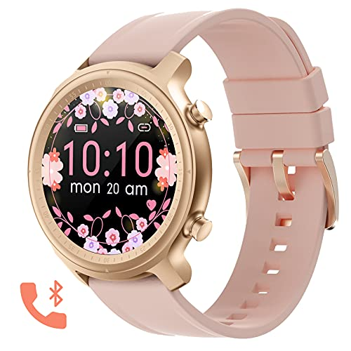 Bluetooth Call Smartwatch for Men Women Fitness Tracker Watch with Heart Rate and Sleep Monitor IP67 Waterproof Activity Tracker Pedometer Watches Compatible with iPhone Android Phones (Pink)