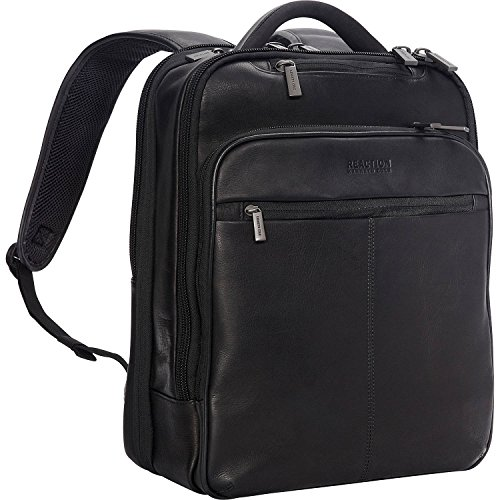 Kenneth Cole Reaction Manhattan Commuter Slim Backpack 16' Laptop Computer & Tablet Travel, Business, Work, School Bookbag, Black, Colombian Leather