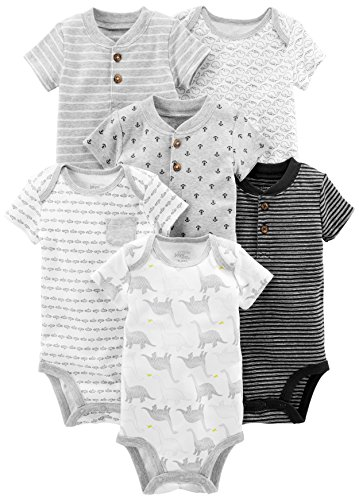 Simple Joys by Carter's Baby Boys' 6-Pack Short-Sleeve Bodysuit, Black/White, Newborn