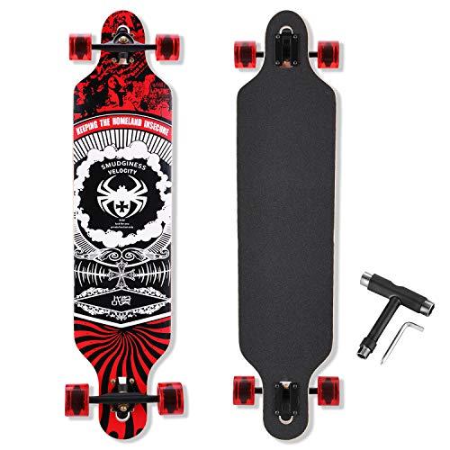 Longboard Skateboard, 41-Inch Downhill Skateboard Through Deck 8-Layer Maple, Complete Skateboard Cruiser