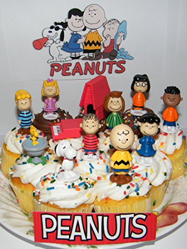 Peanuts Movie Classic Figure Set of 13 Mini Cake Toppers/Cupcake Decorations Party Favors with Snoopy, Woodstock, Dog House, Lucy, Linus Etc and Special Puffy Decorative Figure!