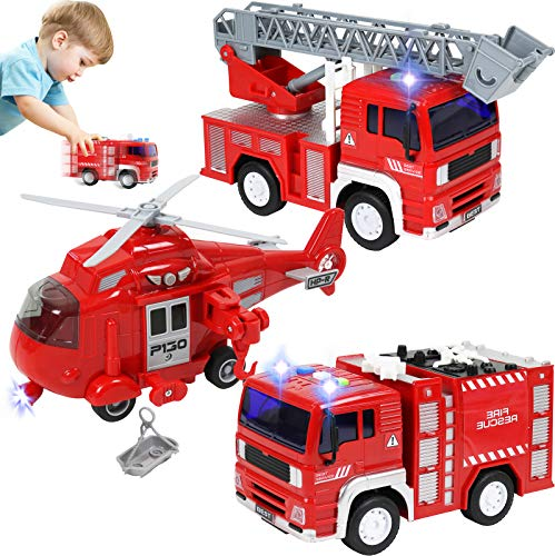 TeganPlay 3 Pack Friction Powered Fire Rescue Vehicle Car Set with Lights and Sounds Including Helicopter, Firefighter and Fire Engine Toys for Boys Toddlers