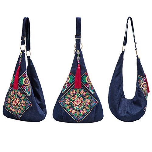 Women Crossbody Bag Fashion Hobo Shoulder Bags Casual Cross Body Denim Handmade Sling Bags,Heavy Embroidery Messenger Bag