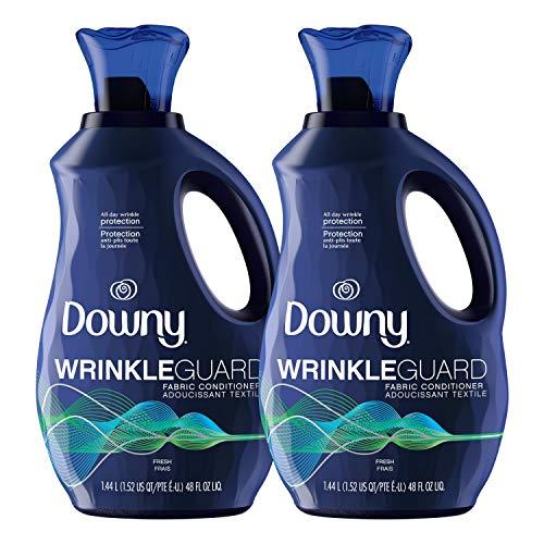 Downy Wrinkleguard Liquid Fabric Conditioner (Fabric Softener), Fresh Scent, 48 Oz Bottles, 2 Pack, Wrinkle Guard Bottles