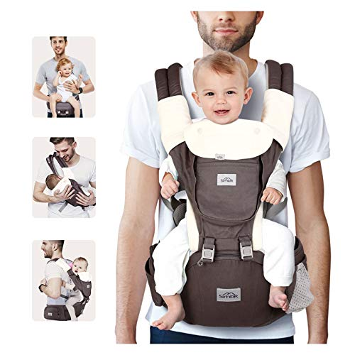 SIMBR Baby Carrier for Newborn to Toddler (3-36 Months ) with Hip Seat, Convertible 12-in-1 Ways to Carry Backpack Use, Adjustable Size for Men and Women, 360° Ergonomic Design, Outdoor Hiking