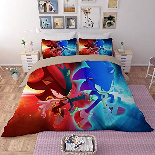 EVDAY Sonic The Hedgehog Duvet Cover Set for Kids Cute 3D Cartoon Printed Bed Set Super Soft Microfiber Popular Game Theme Bedding 3Piece Including 1Duvet Cover,2Pillowcases Twin Size