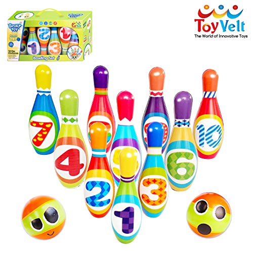 ToyVelt Kids Bowling Set - with 10 Bowling Pins & 2 Balls - Educational Early Development Indoor & Outdoor Games Set - for Toddlers & Infants Boys & Girls Ages 3,4,5 -12 Years Old